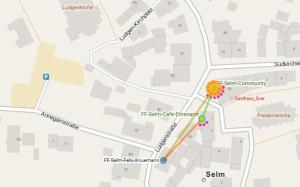 18 Clients online, Cafe Ehrenamt und Felix Knümann unterstützen mit Bandbreite unseren Knoten bei Suer.